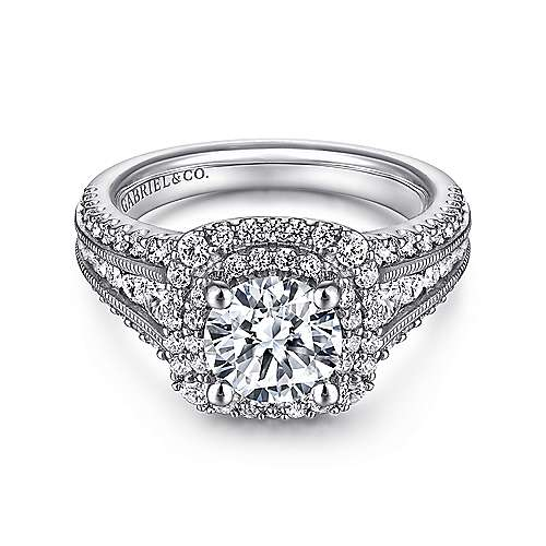 Henrietta 14k White Gold Round Double Halo Engagement Ring angle 1