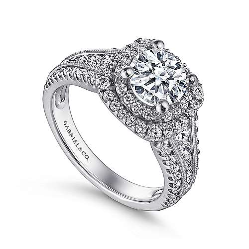 Henrietta 14k White Gold Round Double Halo Engagement Ring angle 3