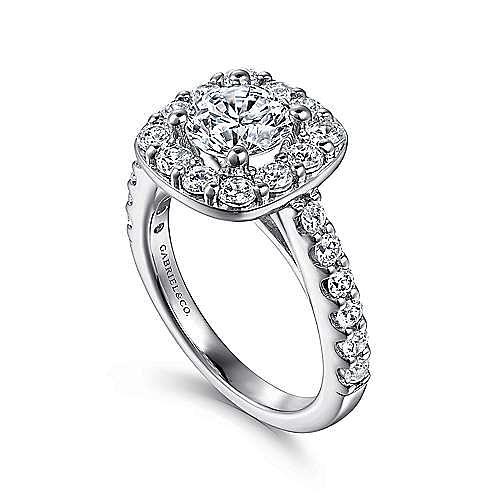 Henrietta 14k White Gold Round Halo Engagement Ring angle 3
