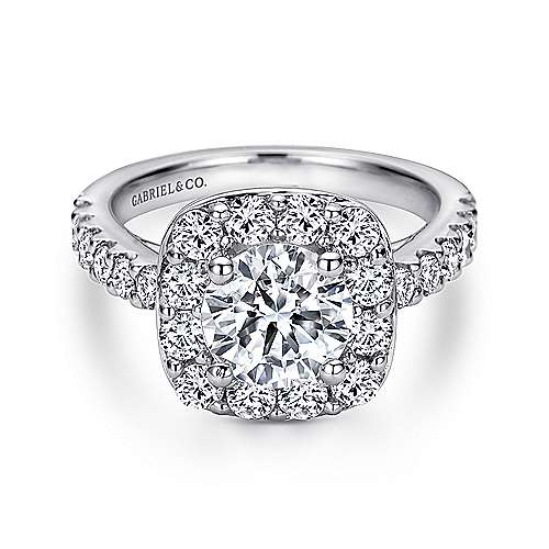 Henrietta 14k White Gold Round Halo Engagement Ring angle 1