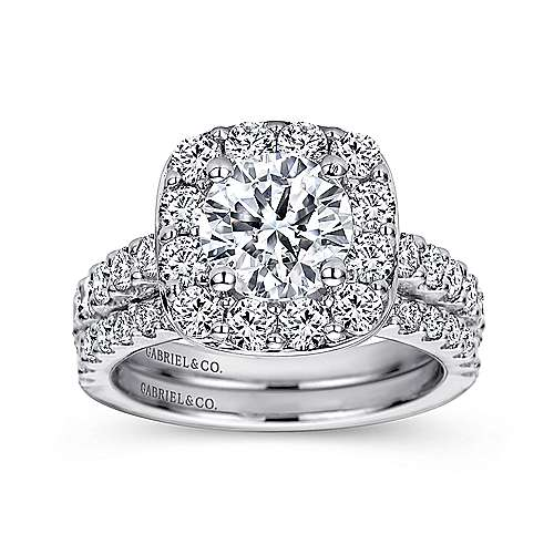 Henrietta 14k White Gold Round Halo Engagement Ring angle 4