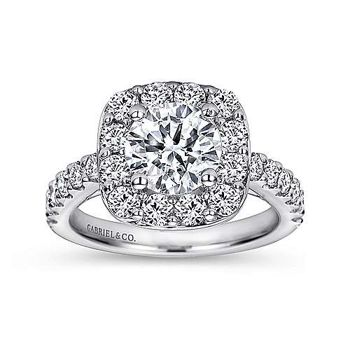 Henrietta 14k White Gold Round Halo Engagement Ring angle 5