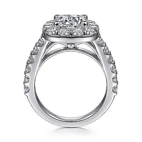 Henrietta 14k White Gold Round Halo Engagement Ring angle 2