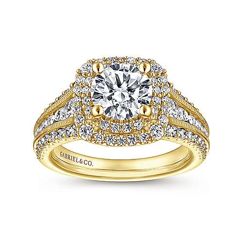 Henrietta 14k Yellow Gold Round Double Halo Engagement Ring angle 5