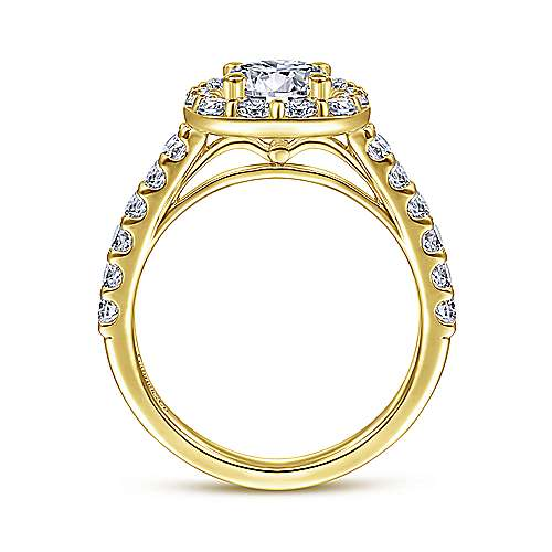 Henrietta 14k Yellow Gold Round Halo Engagement Ring angle 2