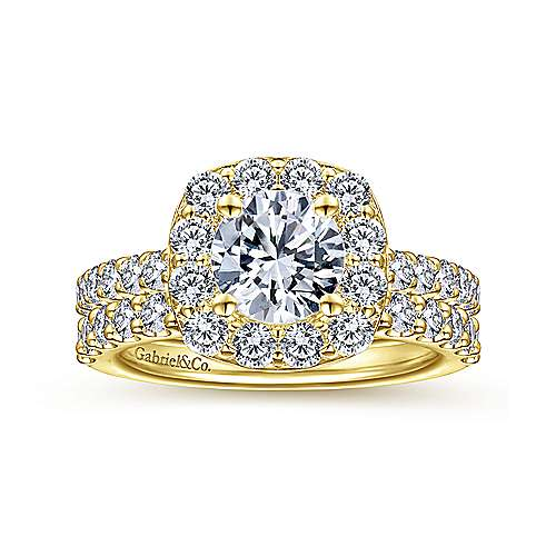 Henrietta 14k Yellow Gold Round Halo Engagement Ring angle 4