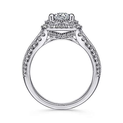 Henrietta Platinum Round Double Halo Engagement Ring angle 2