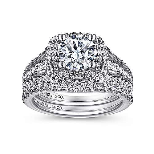 Henrietta Platinum Round Double Halo Engagement Ring angle 4