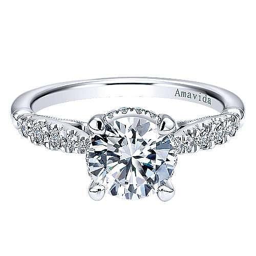 Herlene 18k White Gold Round Halo Engagement Ring angle 1