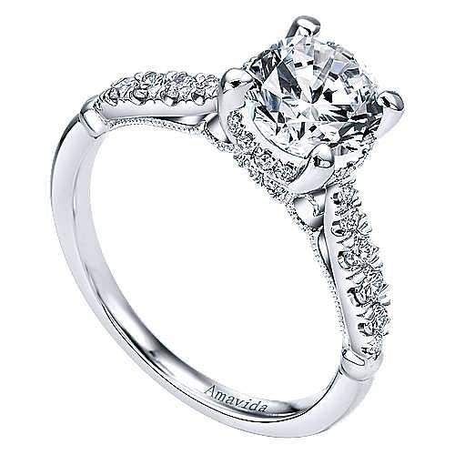 Herlene 18k White Gold Round Halo Engagement Ring angle 3