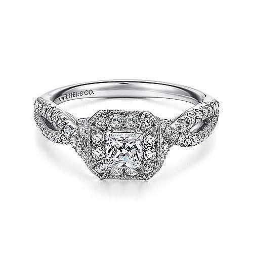 Gabriel - Hero 14k White Gold Princess Cut Halo Engagement Ring