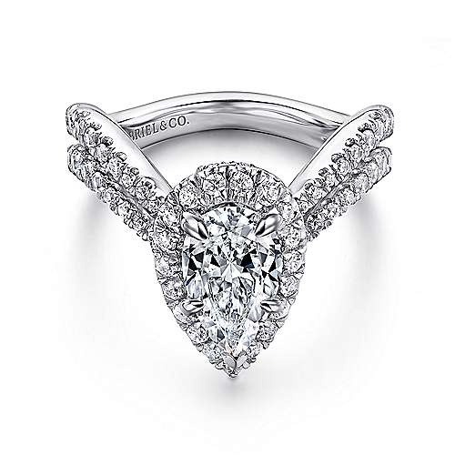 Gabriel - Hibiscus 14k White Gold Pear Shape Halo Engagement Ring