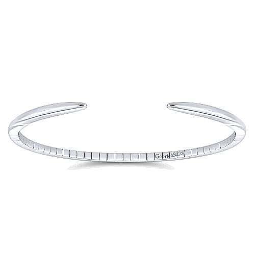High Polished 14K White Gold Split Cuff Bracelet
