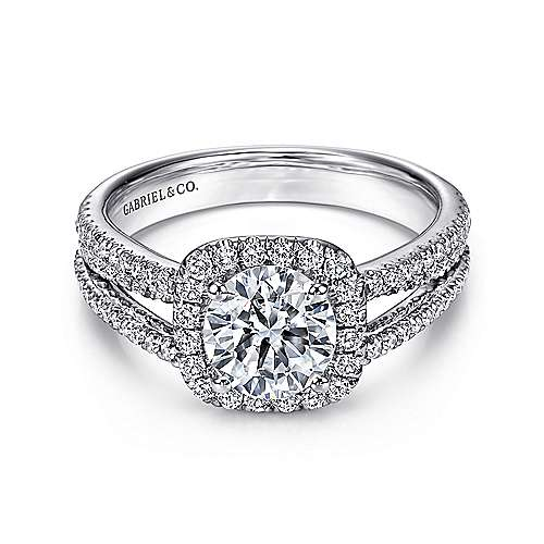 Gabriel - Hillary 14k White Gold Round Halo Engagement Ring