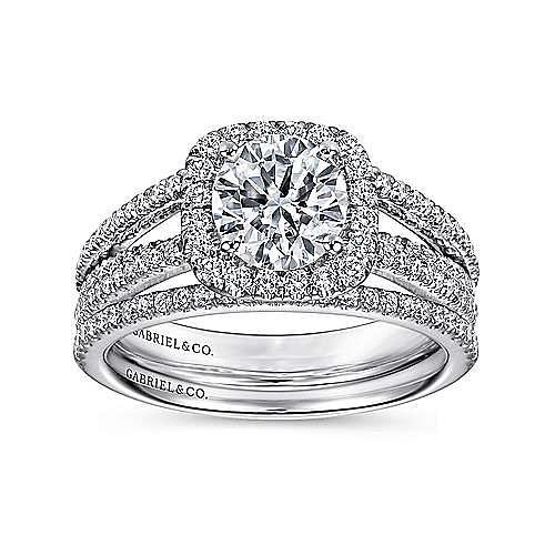 Hillary 14k White Gold Round Halo Engagement Ring