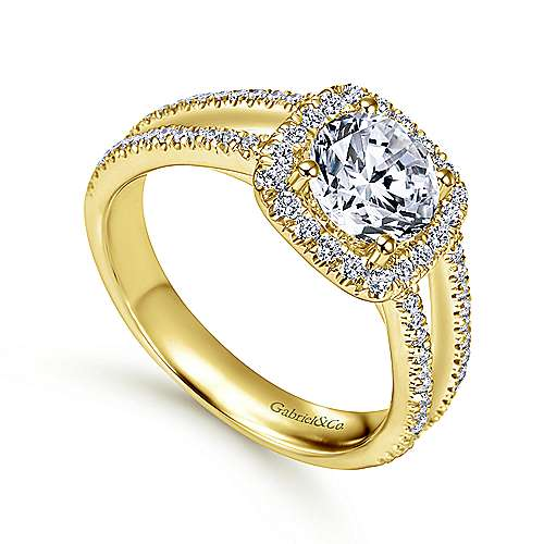 Hillary 14k Yellow Gold Round Halo Engagement Ring angle 3