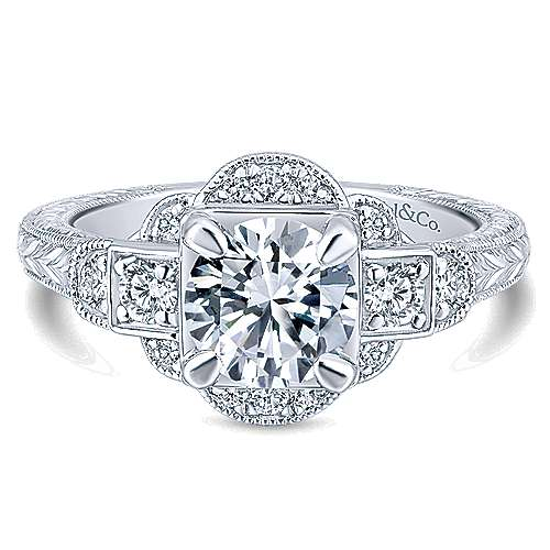 Hillcrest 14k White Gold Round 3 Stones Engagement Ring angle 1