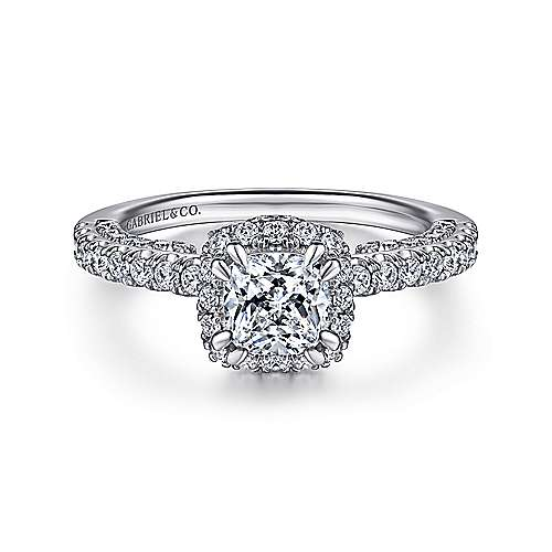 Gabriel - Holland 14k White Gold Cushion Cut Halo Engagement Ring