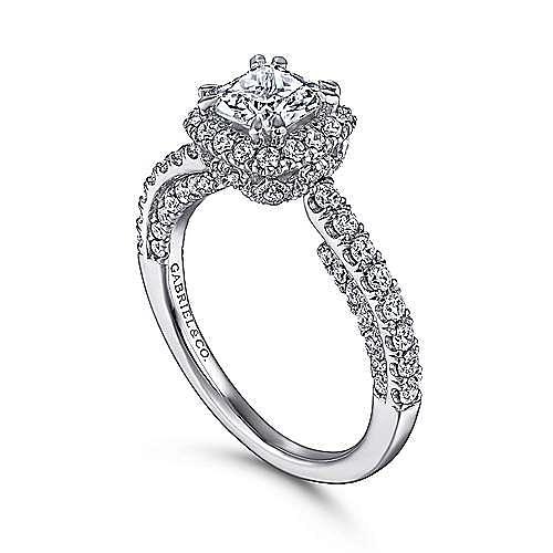 Holland 14k White Gold Cushion Cut Halo Engagement Ring angle 3