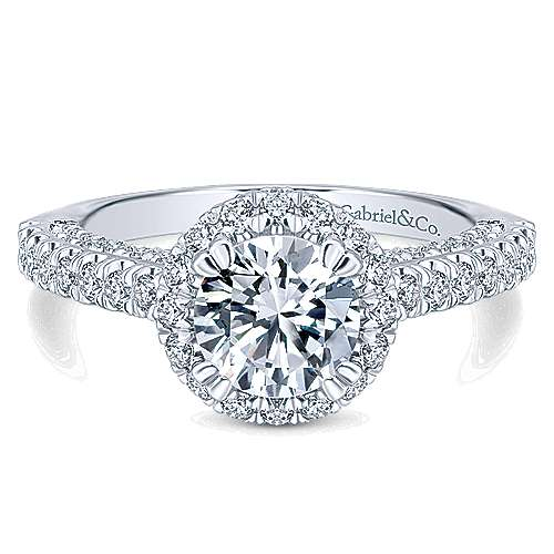 Holland 14k White Gold Round Halo Engagement Ring angle 1