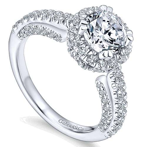 Holland 14k White Gold Round Halo Engagement Ring angle 3