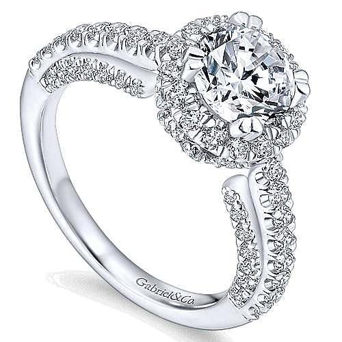 Holland 14k White Gold Round Halo Engagement Ring angle 3