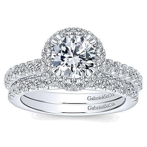 Holland 14k White Gold Round Halo Engagement Ring angle 4