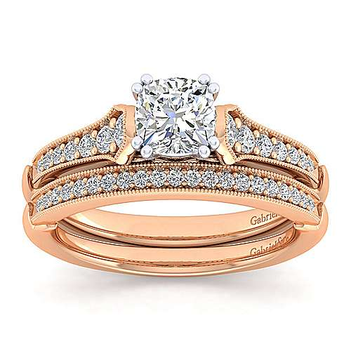 Hollis 14k White And Rose Gold Cushion Cut Straight Engagement Ring angle 4