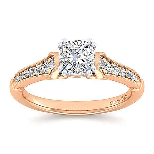 Hollis 14k White And Rose Gold Cushion Cut Straight Engagement Ring angle 5