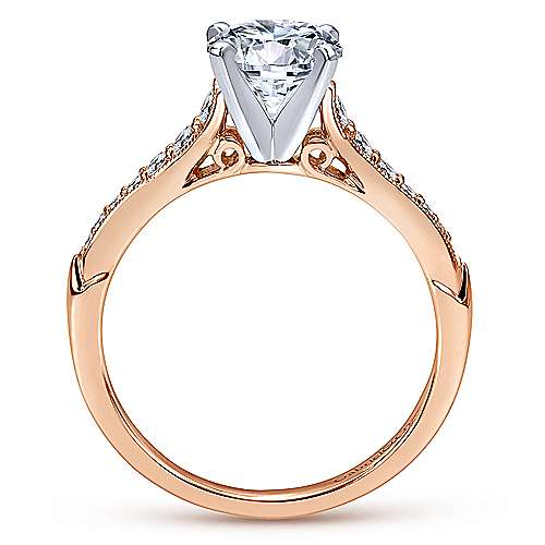 Hollis 14k White And Rose Gold Round Straight Engagement Ring