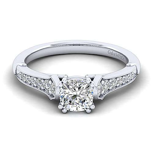 Gabriel - Hollis 14k White Gold Cushion Cut Straight Engagement Ring