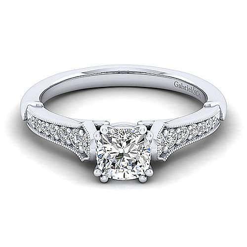 Gabriel - Hollis 14k White Gold Cushion Cut Straight Engagement Ring