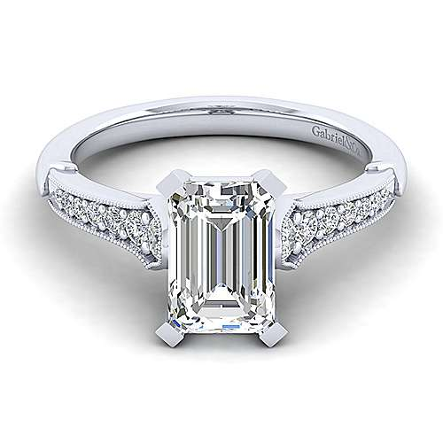 Gabriel - Hollis 14k White Gold Emerald Cut Straight Engagement Ring