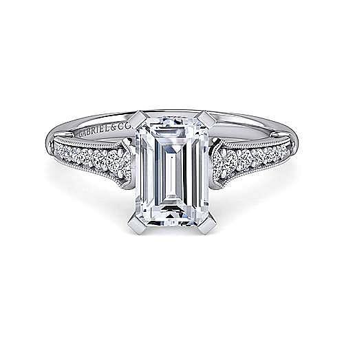 Gabriel - Hollis 14k White Gold Emerald Cut Straight Engagement Ring