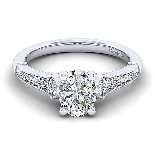 Gabriel - Hollis 14k White Gold Oval Straight Engagement Ring