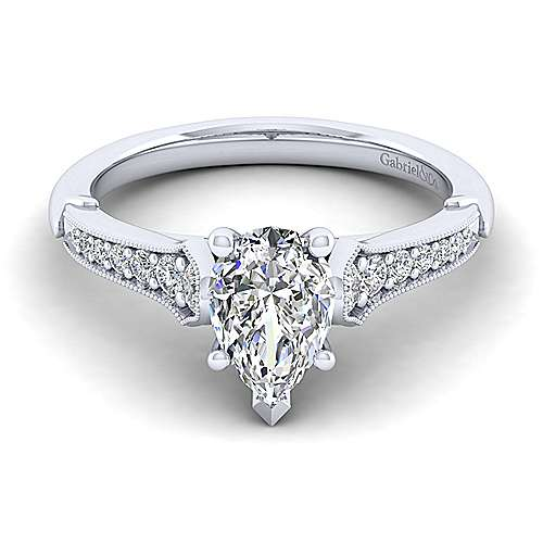 Gabriel - Hollis 14k White Gold Pear Shape Straight Engagement Ring