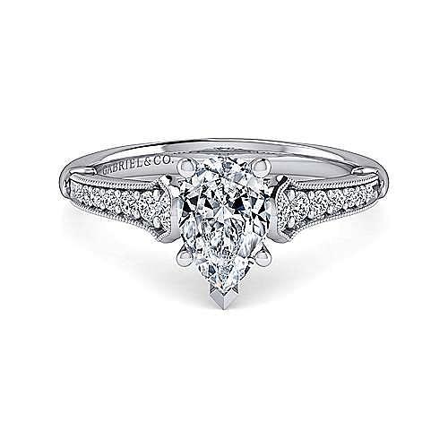 Gabriel - Hollis 14k White Gold Pear Shape Straight Engagement Ring