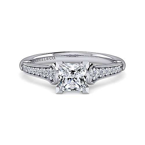 Gabriel - Hollis 14k White Gold Princess Cut Straight Engagement Ring