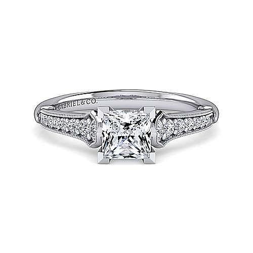 Gabriel - Hollis 14k White Gold Princess Cut Straight Engagement Ring