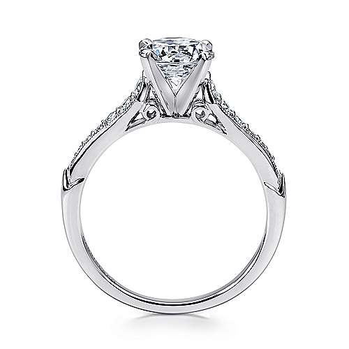 Hollis 14k White Gold Round Straight Engagement Ring