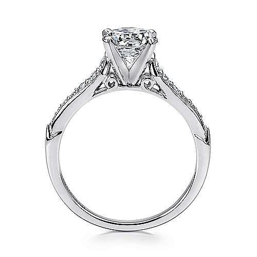 Hollis 14k White Gold Round Straight Engagement Ring angle 2