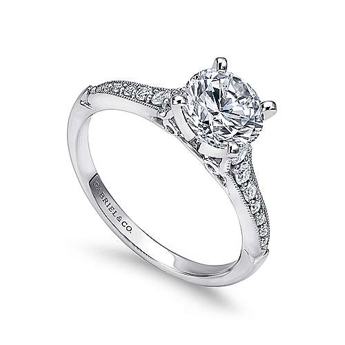 Hollis 14k White Gold Round Straight Engagement Ring angle 3