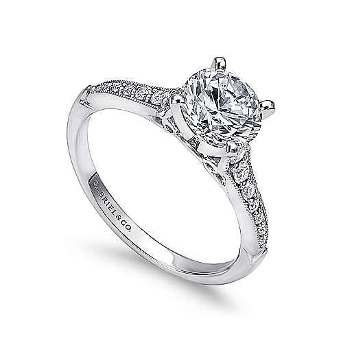 Hollis 14k White Gold Round Straight Engagement Ring angle 3