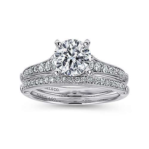Hollis 14k White Gold Round Straight Engagement Ring angle 4