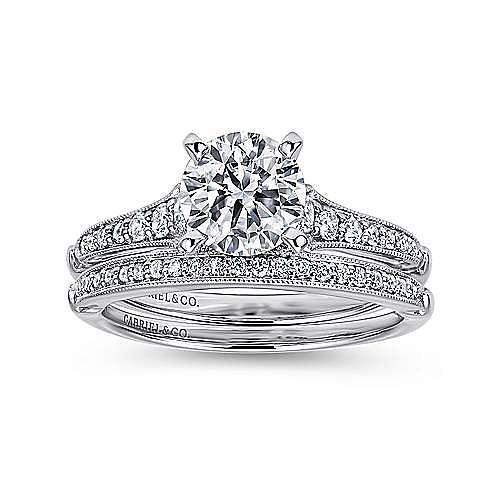 Hollis 14k White Gold Round Straight Engagement Ring angle 4