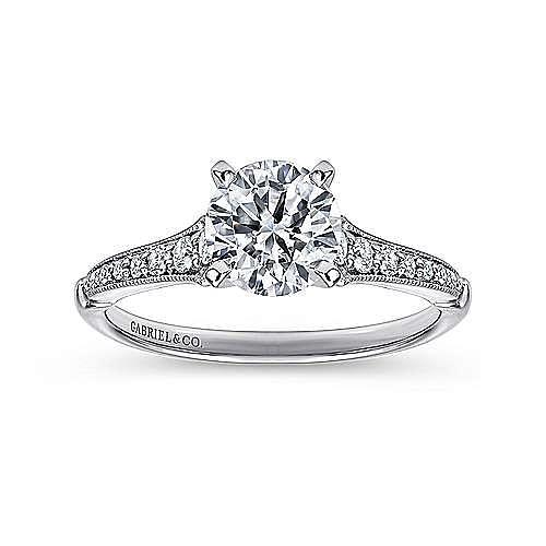 Hollis 14k White Gold Round Straight Engagement Ring angle 5