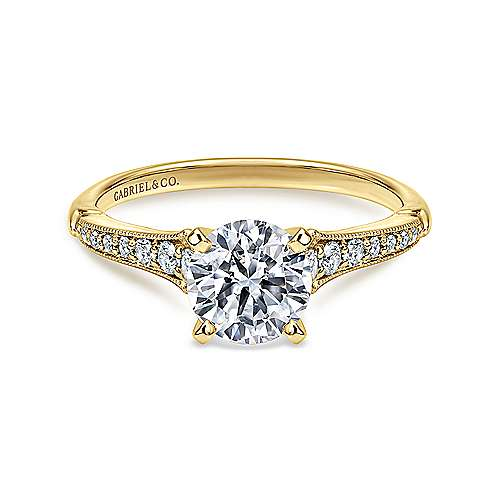 Gabriel - Hollis 14k Yellow And White Gold Round Straight Engagement Ring