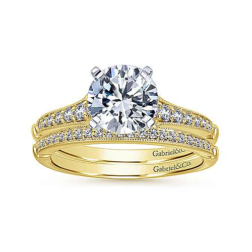 Hollis 14k Yellow And White Gold Round Straight Engagement Ring angle 4