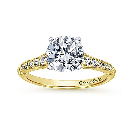 Hollis 14k Yellow And White Gold Round Straight Engagement Ring angle 5