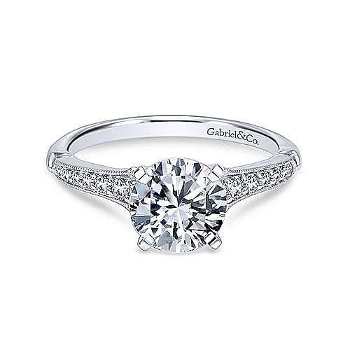 Gabriel - Hollis 18k White Gold Round Straight Engagement Ring